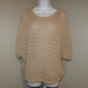 Forever 21 Top Blouse Tan Size Small Short sleeve